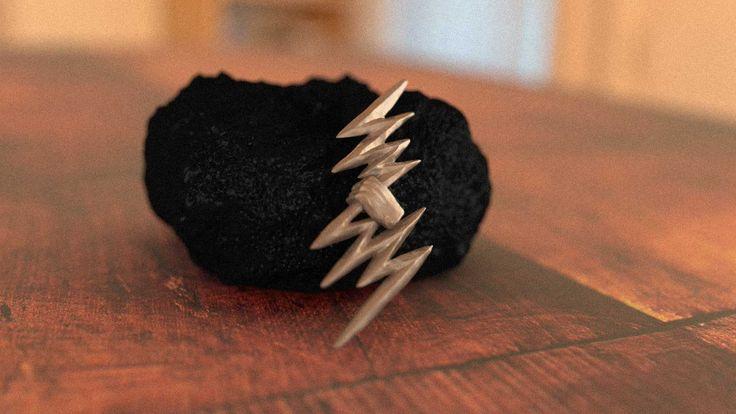 Zeus Thunder Bolt Stainless Steel Pendant #shapeways by Mythos Jewelry