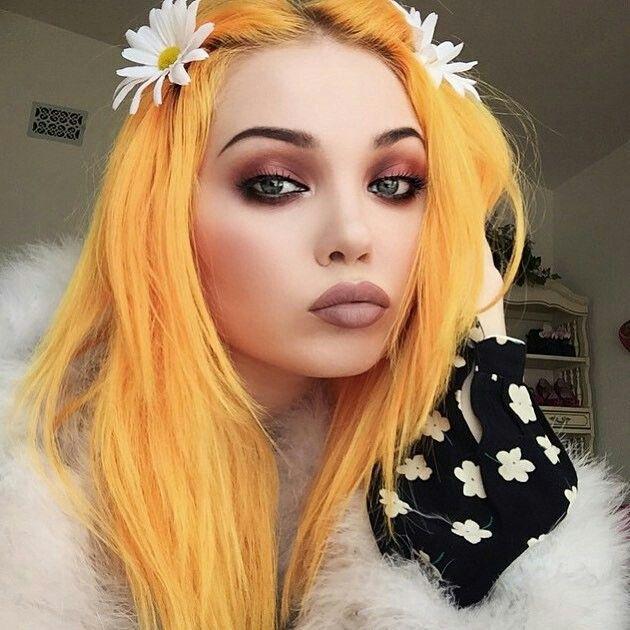 Orange hair! Love this look. Colorful hair, dyed hair, neon, pastel, festival wear, grunge, goth, punk, lime crime.