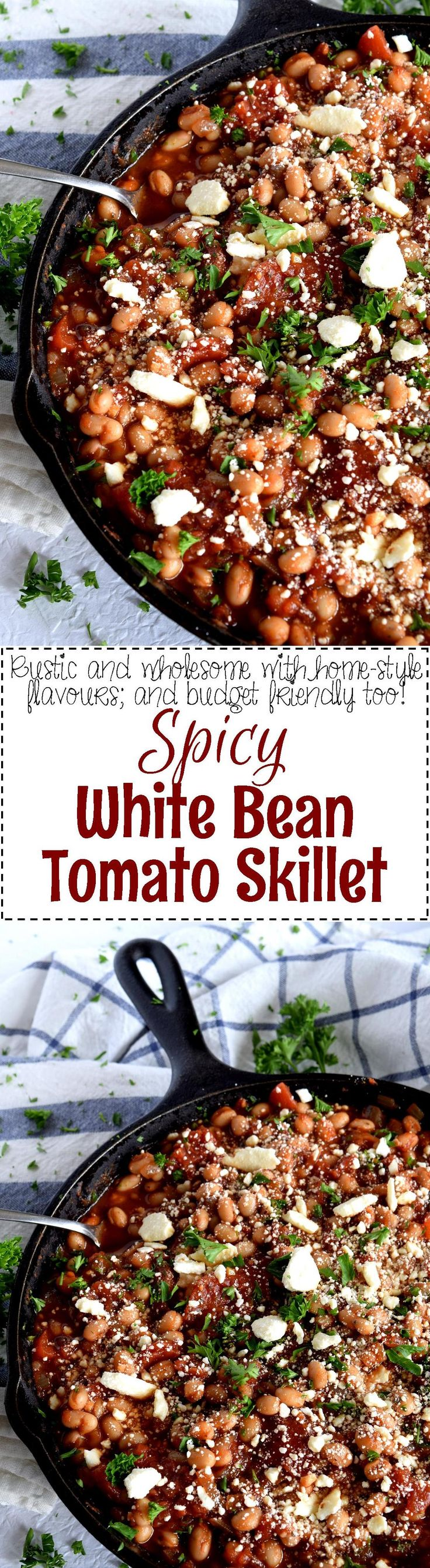 Spicy White Bean Tomato Skillet - Spicy White Bean Tomato Skillet is wholesome and delicious; packed with great flavour and lots of protein, this dish comes together easily, quickly, and inexpensively.  Serve with good crusty bread for a great dinnertime option.