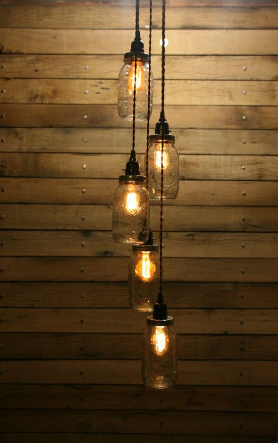 5 Vaso ciondolo luce - luce lampadario Mason Jar - barcollando lunghezza appesa Mason Jar appesa luce del pendente
