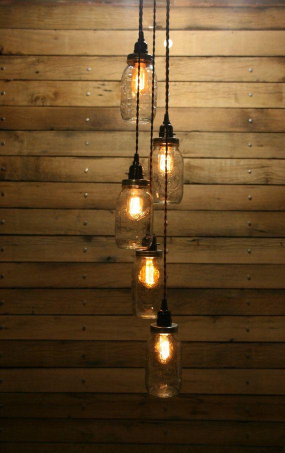 5 Jar Pendant Light  Mason Jar Chandelier by IndustrialRewind, $159.00