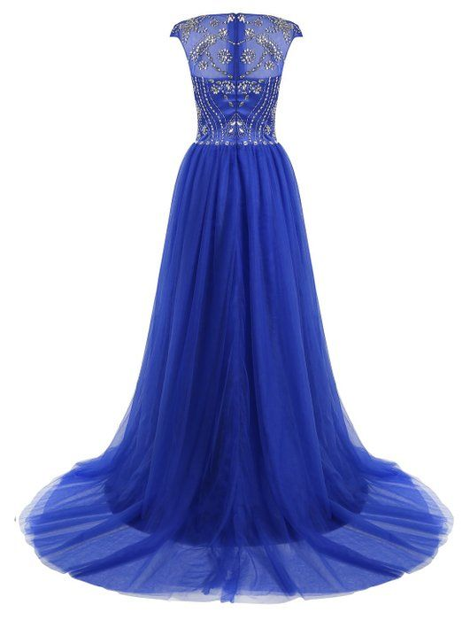 Tideclothes Long Beads Prom Dress Tulle Cap Sleeves Evening Dress Dark Red US4
