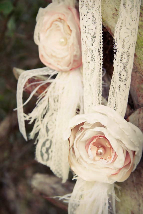 hanging wedding decor chair tie fabric flower lace upcycled vintage shabby chic decor pink ivory lace wedding church pew decor vintage party