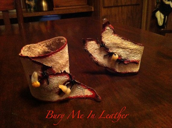 Zombie Flesh Wrist Cuffs with Teeth by BuryMeInLeather on Etsy