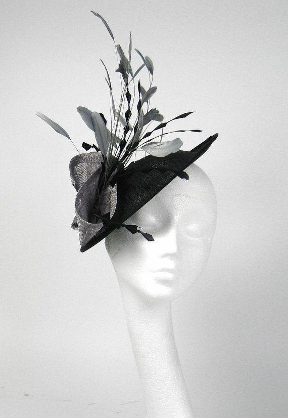 Black and  Grey Fascinator Kentucky Derby or Wedding Hat