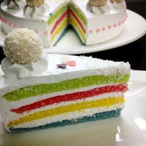 عندك حفلة وريهم شطارتك واصنعي الكيك بنفسك كيكة قوس قزح شاركتنا الطريقة Sarah Alshehri تطبيق طبخي طبخ طبخات Desserts Vanilla Cake Cake