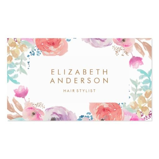 Pastel Watercolor Flowers Business Card  #zazzle, #phrosnerasdesign #floral #businesscards #callingcards #contactcards
