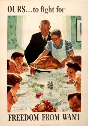 Freedom From Want WWII USA Norman Rockwell 1943 - original vintage poster by Norman Rockwell listed on AntikBar.co.uk