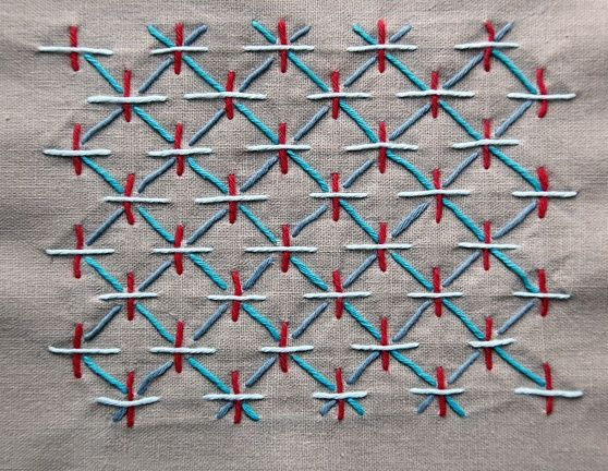 """Sashiko stitching is an elegant and very simple stitching technique dating back to the 1600""""s. Originally used to mend and quilt fabrics, now used as a decorative stitch. Sometimes called embroidery, sashiko is really a quilting stitch."""