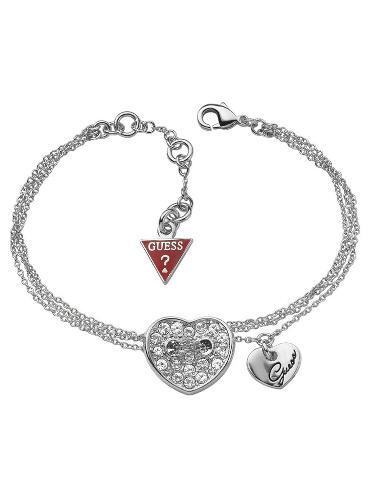 Rhodium-plated double chain bracelet Double heart charm with engraved Guess  logo and crystal pavé details Guess logo triangle end adjustable length cm  / in