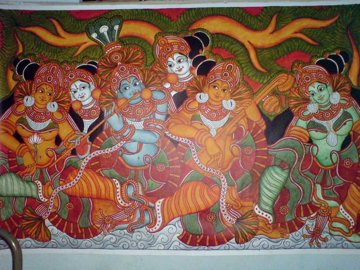 Famous krishna paintings google search love for for Ananthasayanam mural painting