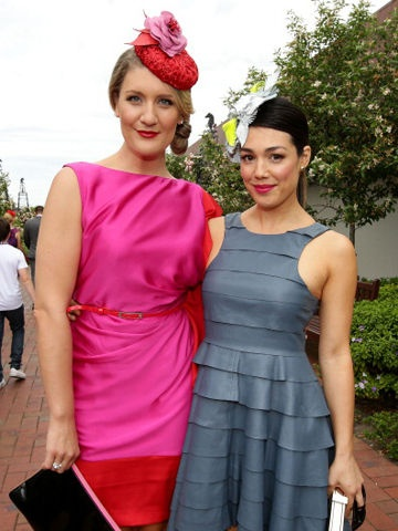 Virginia Gay and Melanie Vallejo teamed colourful fascinators with their Melbourne Cup outfits.   Both women are actresses and also in the popular TV sitcom Winners & Losers.