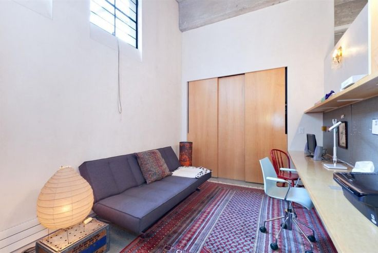 Loft: Two Floor Loft Idea with Three Bedroom in West Village New York City, Loft Bedroom Work Space Idea showing Simple Wooden Table and Shelf and Mobile Computer Chair also Gray Futon and Traditional Pattern of Area Rug and Closet