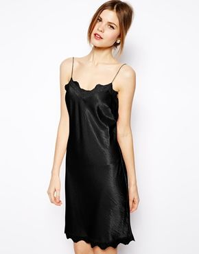 Image 1 of ASOS Satin Mini Lace Trim Cami Dress 8