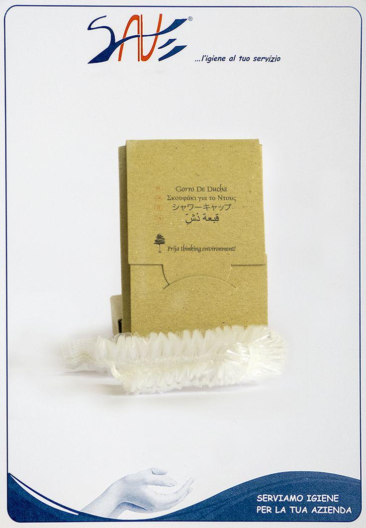 Cuffia doccia monouso Prija venduta in singola confezione da 100 pezzi cadauna.