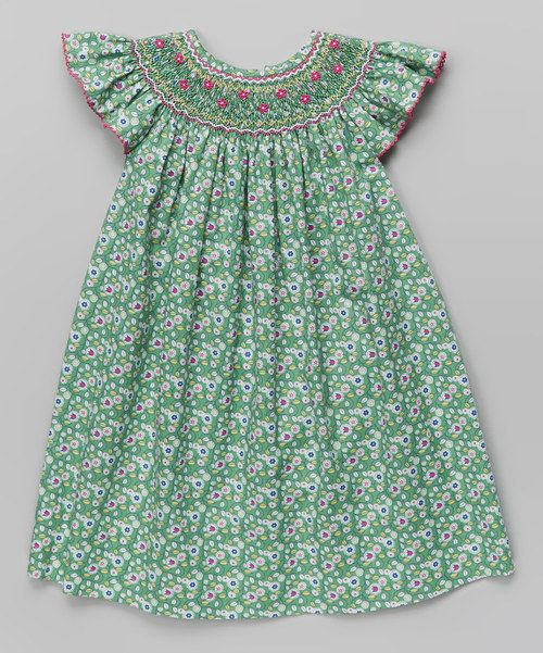 Take+a+look+at+the+Green+Floral+Bishop+Dress+-+Infant,+Toddler+&+Girls+on+#zulily+today!