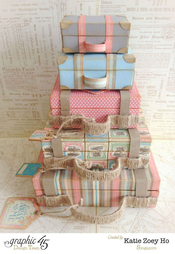 Love these Come Away with Me Stacked Suitcases by Katie #graphic45