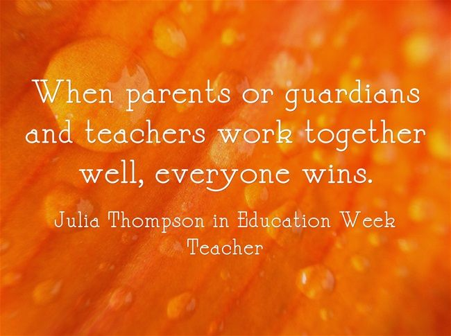 When parents or guardians and teachers work together well ...