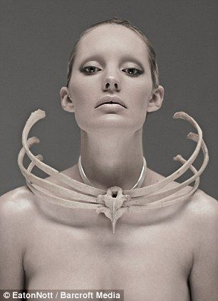 Macabre fashion, from Jess Eaton: A necklace made from a human ribcage, left, donated to the artists by a university medical department.
