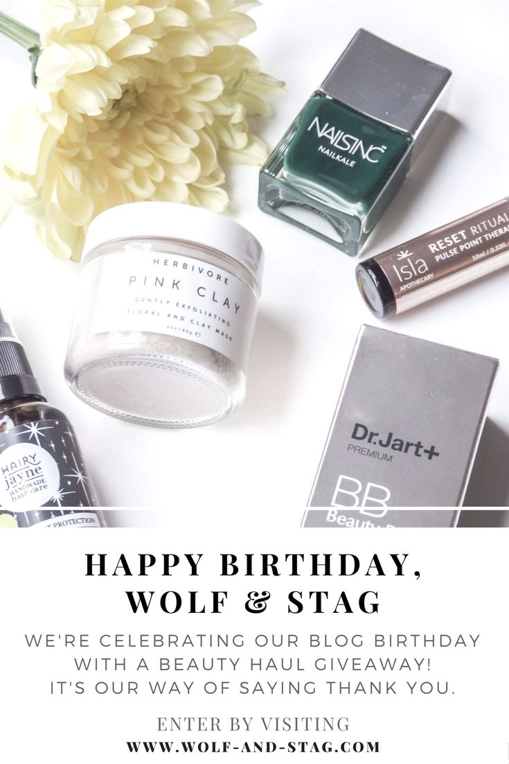 Happy Birthday, Wolf & Stag. We're celebrating our blog's birthday with a beauty giveaway! One winner will receive a beauty haul of some of our favourite products. It's our way of saying thank you | visit wolf-and-stag.com for entry & details