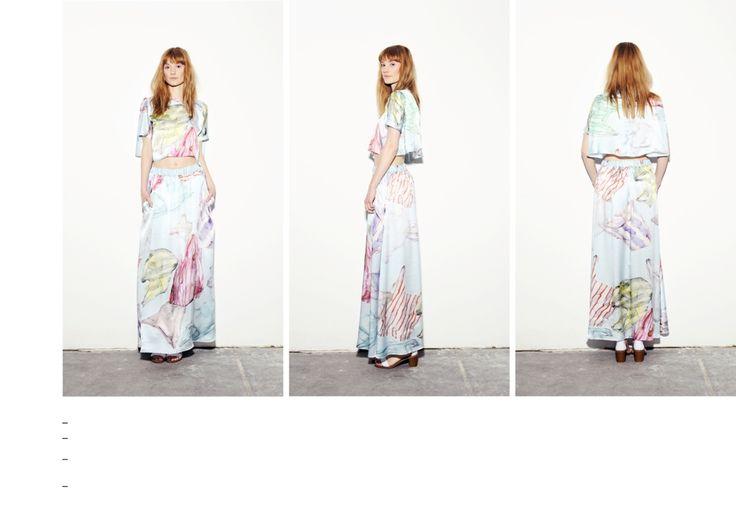 Plastic bag printed silk crop top and maxi skirt.