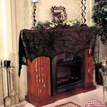 1 Pièce Halloween Décoration Noir Dentelle Toile D'araignée Cheminée Manteau Écharpe Couvre Fête Parti Fournitures 45*243 cm(China (Mainland))