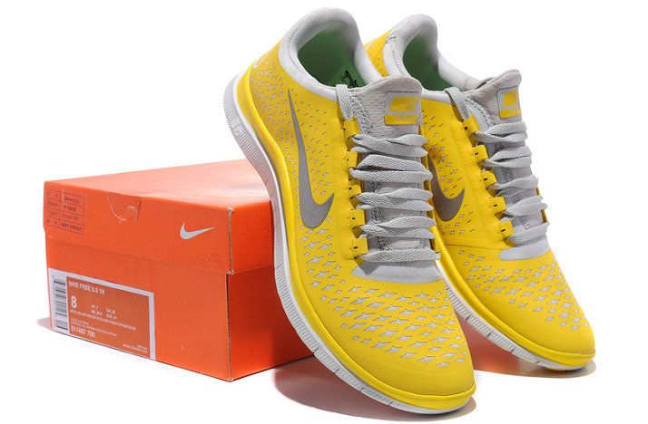 newest 4a23b 64ece Nike Free 3.0 V4 Mens Original Lemon Charm Yellow Silver Pure Platinum  511457 700