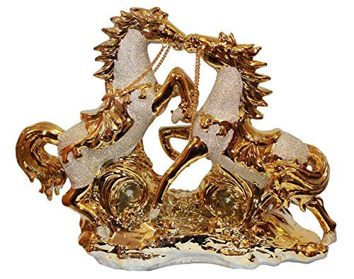 odishabazaar running horse idol figurine in golden color perfect for home decor gift 12x10x3 - Amazon Home Decor