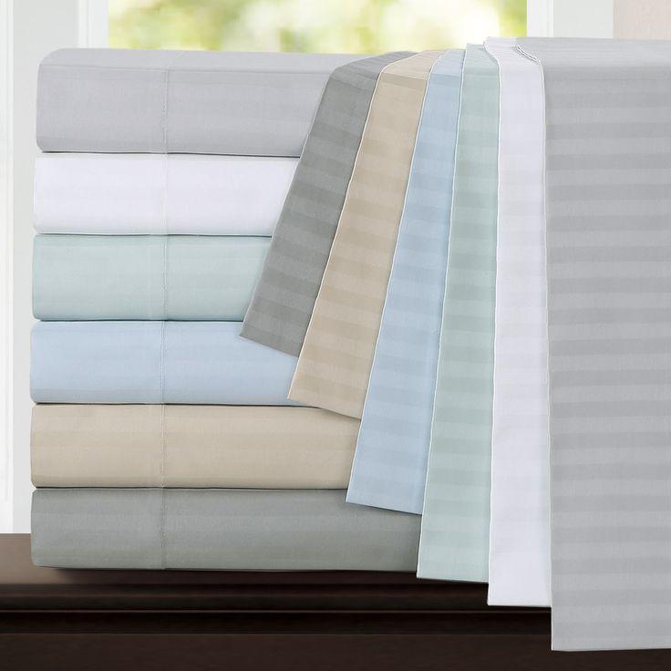 Echelon Home Egyptian Cotton 800 Thread Count Deep Pocket Stripe Full Size Sheet Set in