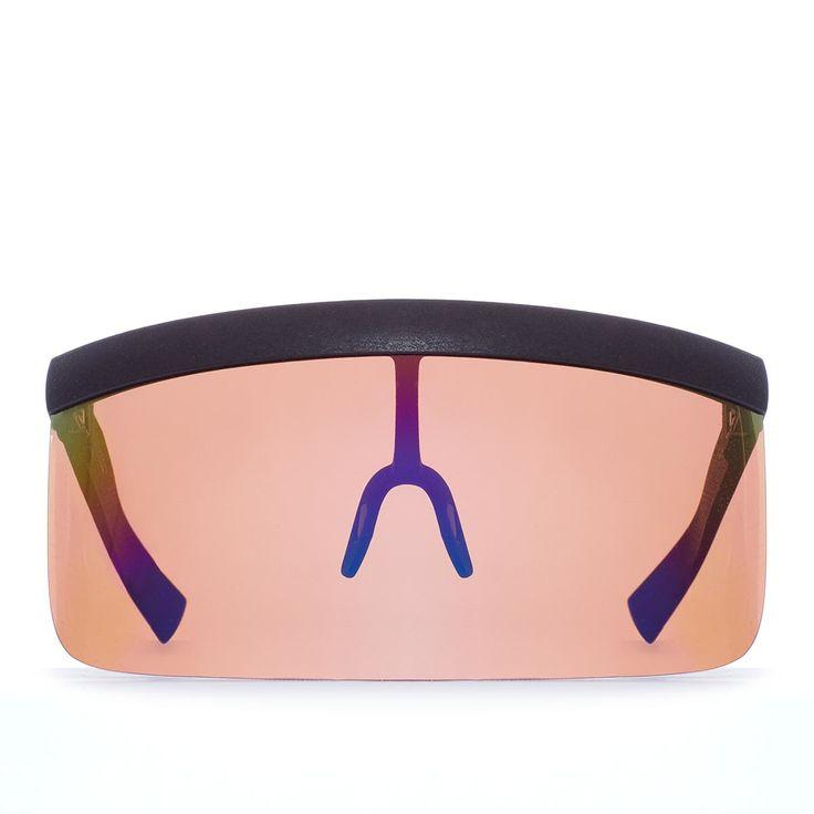 Daisuke sun visor from Mykita collection in collaboration with Bernhard Willhelm in ebony brown