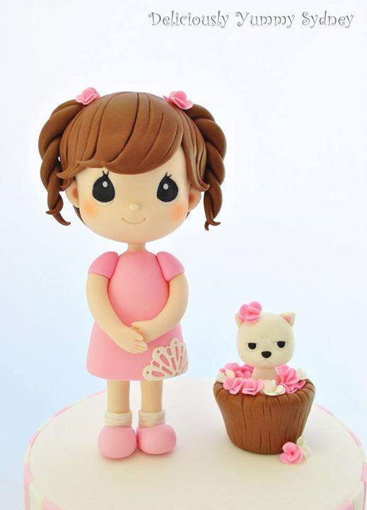 Girl & Cat Figures