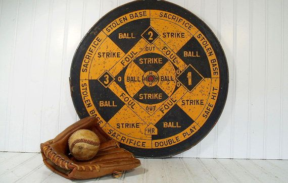 Vintage Two Sided Wooden Dart Board  Retro by DivineOrders on Etsy, $54.00