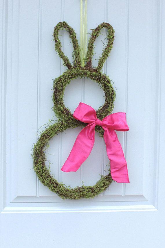 Bunny Wreath Two Sizes Easter Wreath Moss Bunny Wreath
