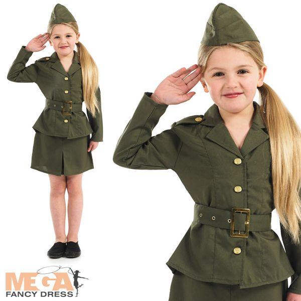 Girls WW2 Army Girl 1940s Kids Fancy Dress 40s Military Uniform Costume Outfit | eBay