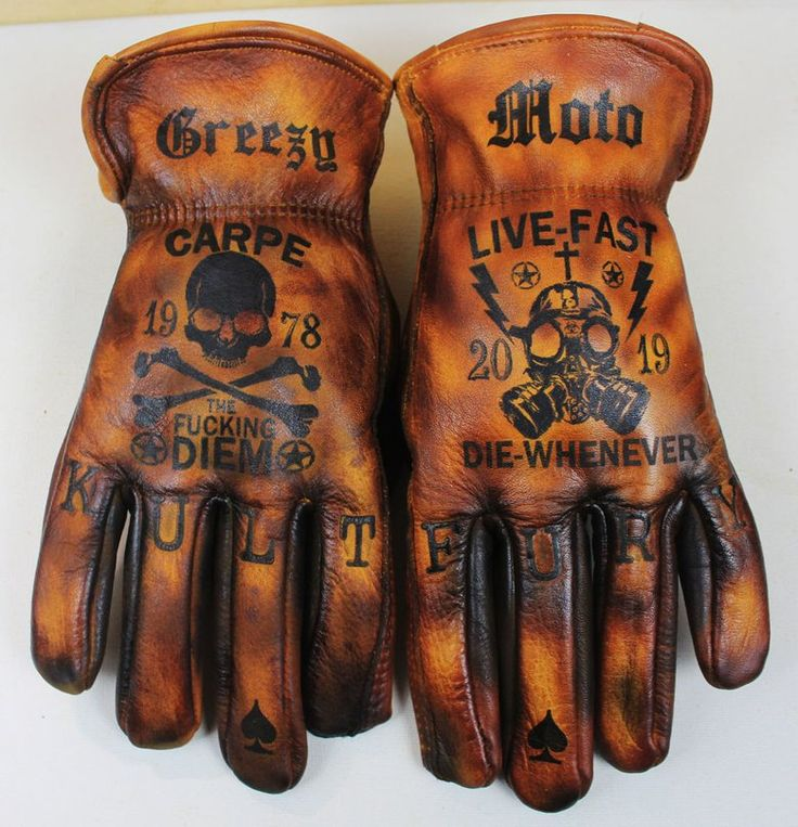 Picture of Carpe Diem/Stay Quick,Die Every time customized leather-based gloves