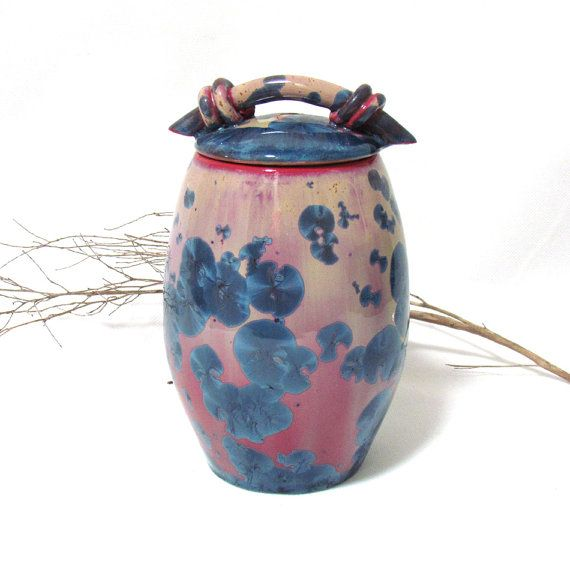 Ceramic lidded canister with deep blue crystals by SunbirdPottery