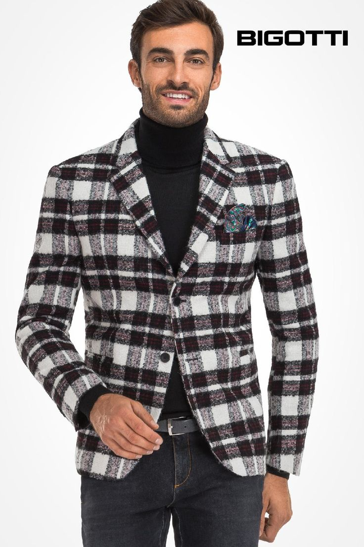 #Versatile and #wonderfully #modern, the #plaid #blazer with #three #dimensional #texture is #ideal for #frequent #wear.  30% OFF #sale  www.bigotti.ro