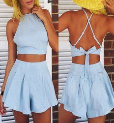 Sexy Sleeveless Crop Top + High-Waisted Solid Color Shorts Two-Piece Women's Twinset