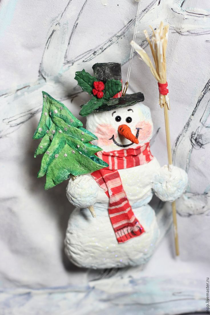Купить Елоная игрушка - белый, снеговик, снеговик игрушка, снеговички, снеговичок, Новый Год