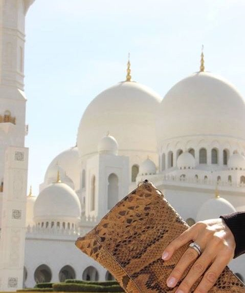 Vanessa Python In front of The Grand Mosque In AbuDhabi