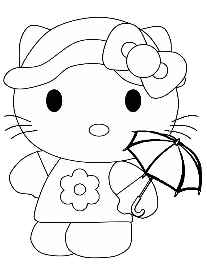 coloring pages hello kitty summer