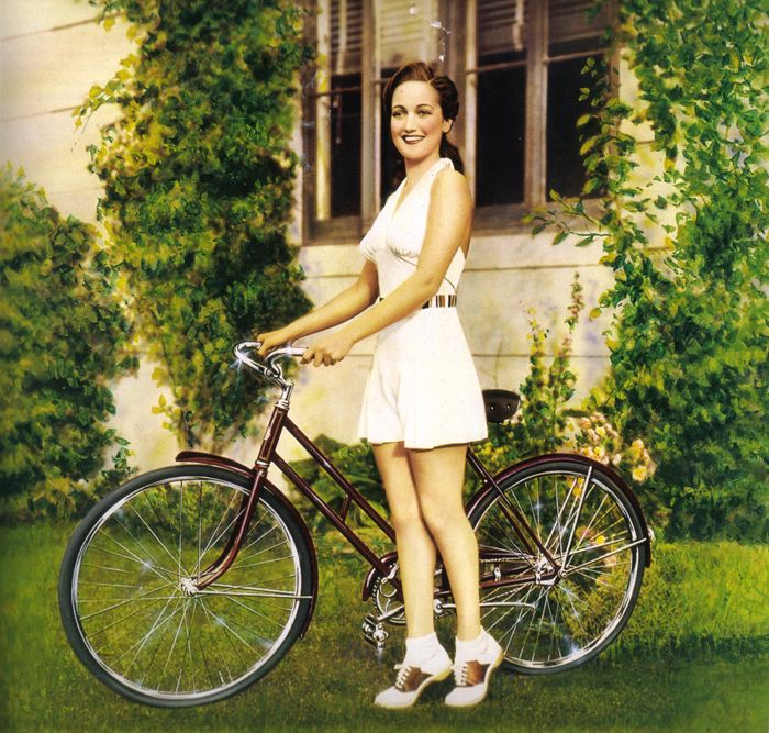Dorothy Lamour and her Schwinn bicycle. 1940's
