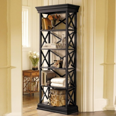 Tall black open bookcases for the dining room/study - like this, but less expensive.