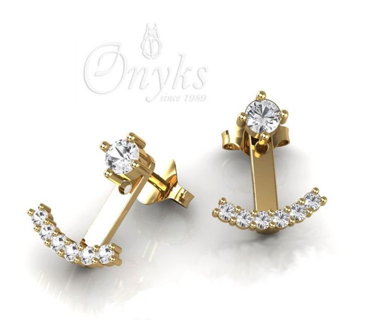 """Gold """"Anchor"""" Earrings, Ear Jacket with Zirconia by MyOnyks on Etsy"""
