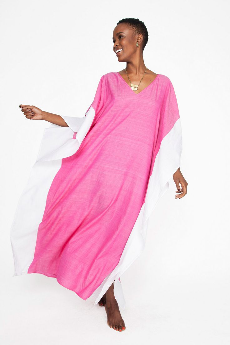 Color Block Caftan made from lightweight, hand spun cotton - the perfect coverup…