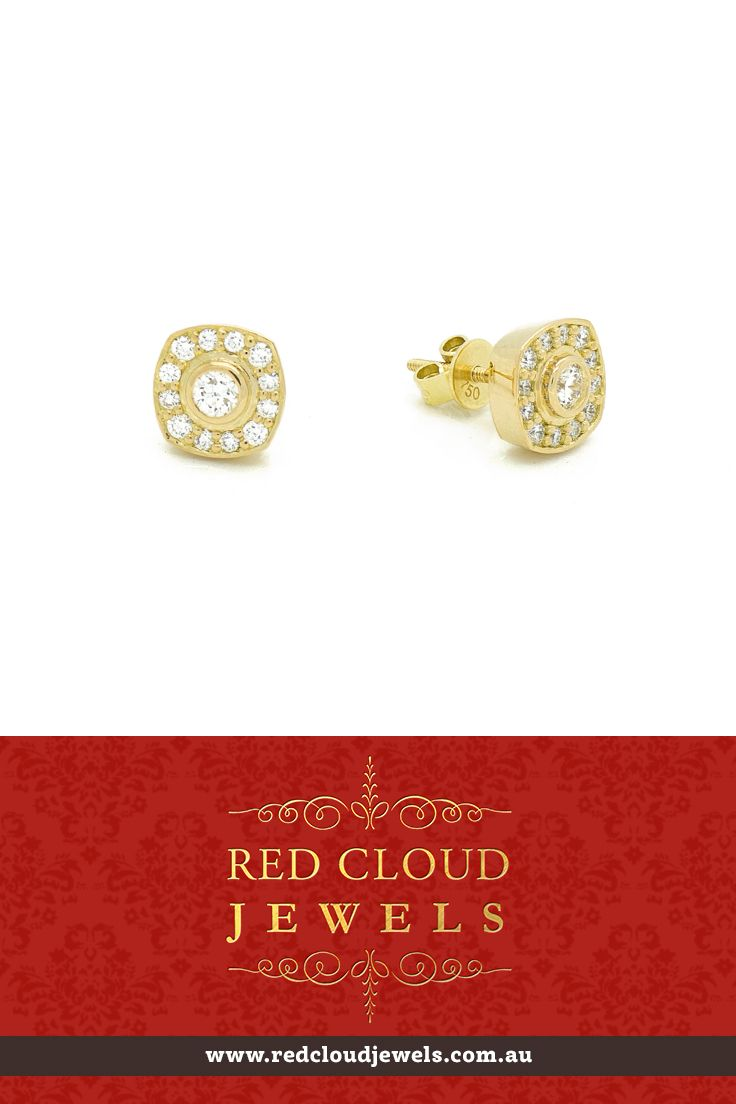 Round brilliant cut white diamonds set in 18ct yellow gold earrings. Red Cloud Jewels - Outstanding Jewellery for Outstanding Individuals | www.redcloudjewels.com.au