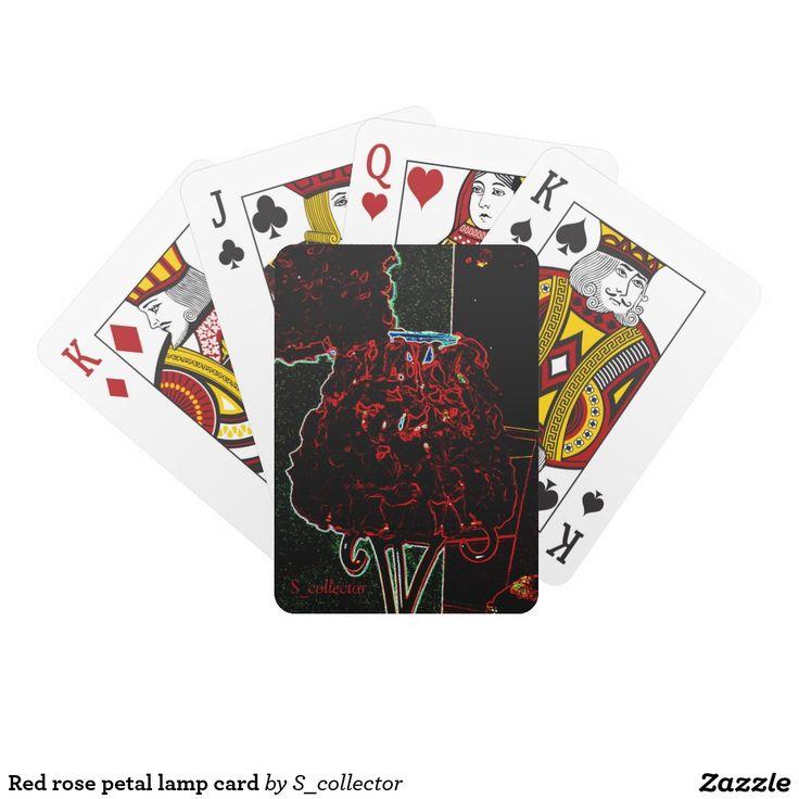Red rose petal lamp card
