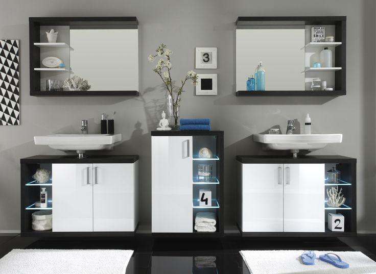 Badezimmer Weiss Hochglanz  Sardegna Rauchsilber Woody 93-00696 - badezimmer unterschrank weiss