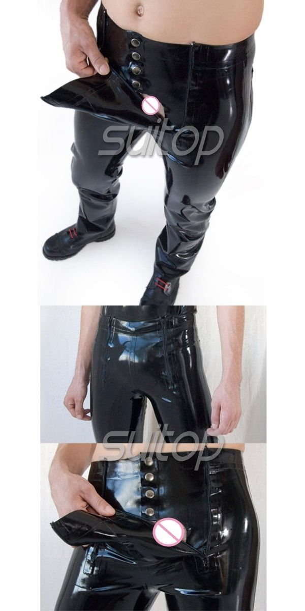 628865381ff6 Suitop codpiece pants black latex pants for men