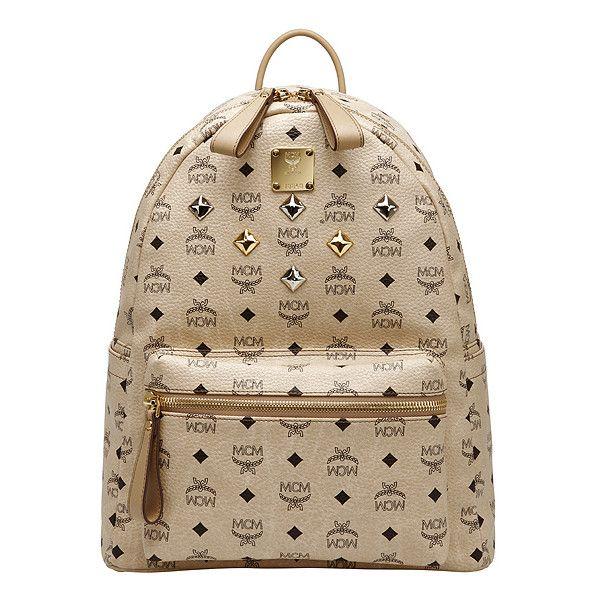 MCM Sale]MCM medium visetos stark backpack beige MMK2AVE01IG ($195) ❤ liked on Polyvore featuring bags, backpacks, mcm, accessories, bolsas, mcm bags, mcm backpack, backpacks bags und rucksack bag